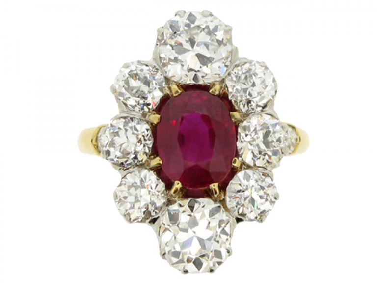 front view Antique natural Burmese ruby and diamond coronet cluster ring
