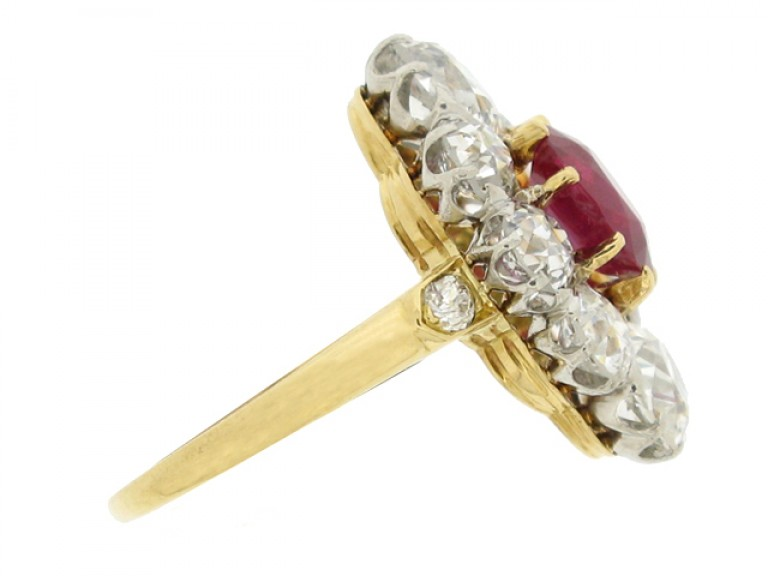 side view Antique natural Burmese ruby and diamond coronet cluster ring