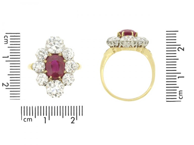 size view Antique natural Burmese ruby and diamond coronet cluster ring