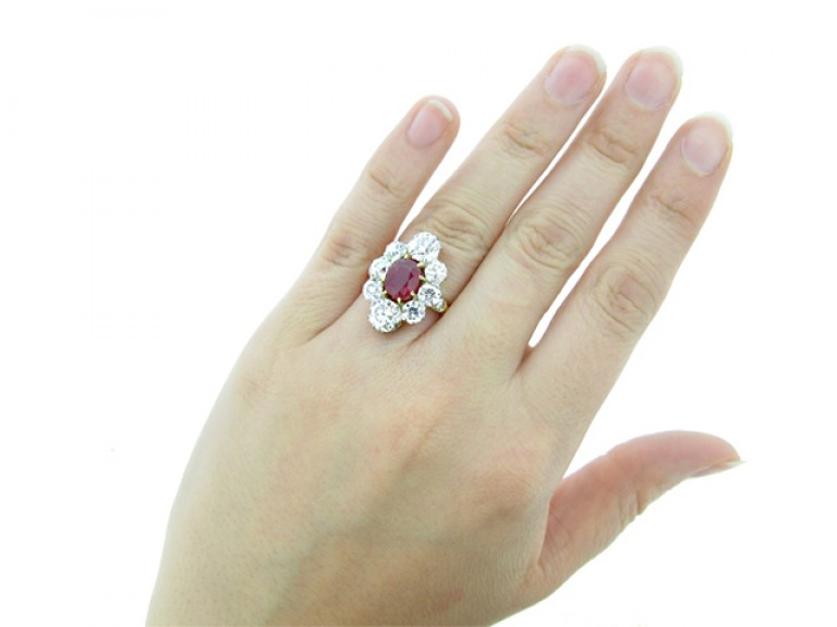 hand view Antique natural Burmese ruby and diamond coronet cluster ring