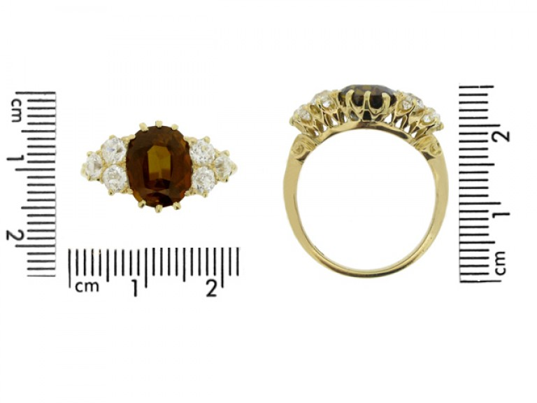 size view Antique tourmaline and diamond cluster ring, circa 1900.