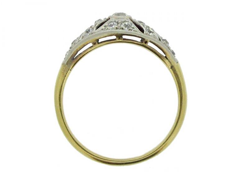 back view Edwardian diamond cluster ring, circa 1905.