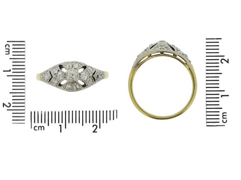 size view Edwardian diamond cluster ring, circa 1905.