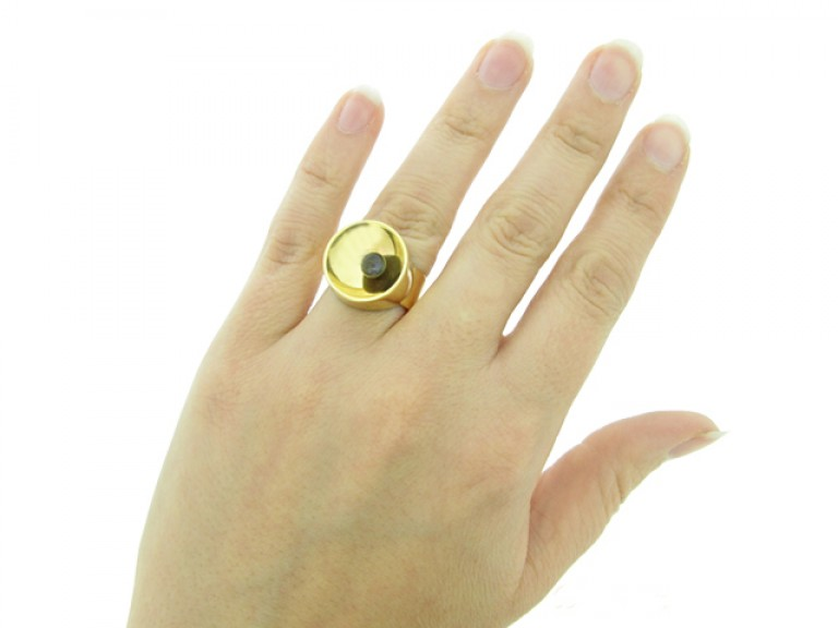 hand view Dinh Van vintage gold ring set with labradorite,