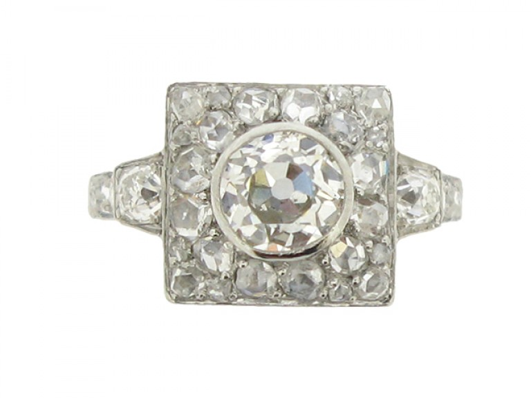 front view Art Deco diamond ring, French, circa 1925.