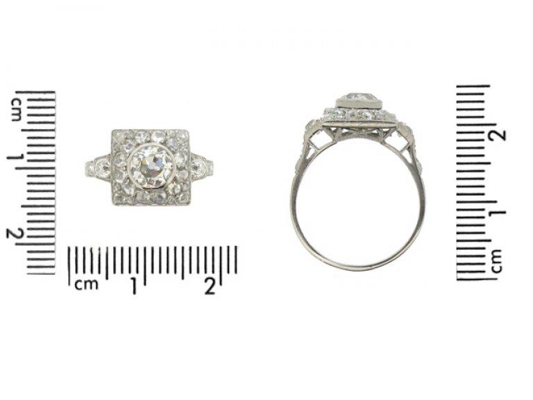 size view Art Deco diamond ring, French, circa 1925.