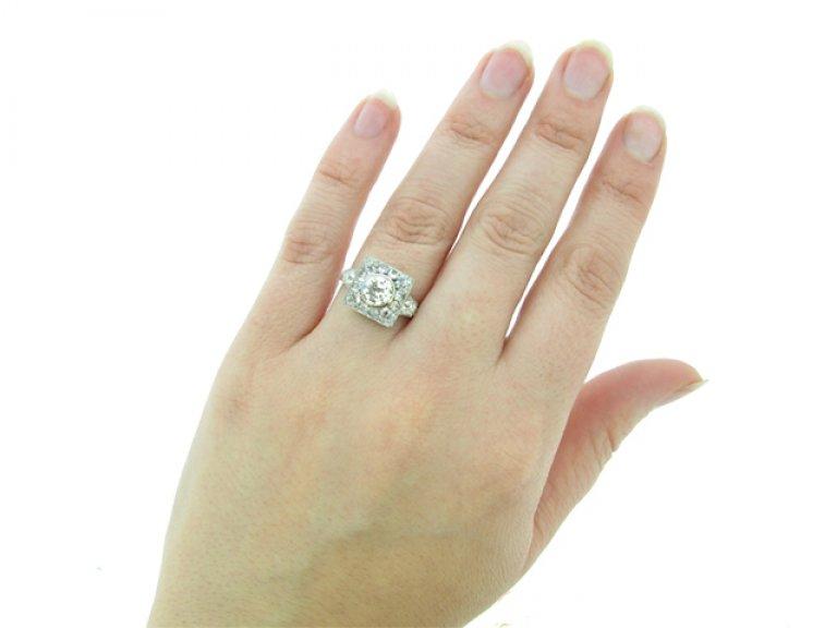 hand view Art Deco diamond ring, French, circa 1925.