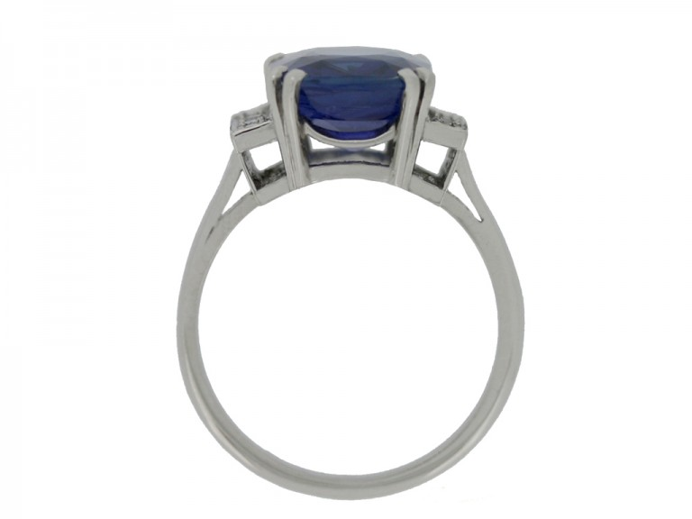 back view Art Deco natural sapphire ring with diamond set shoulders