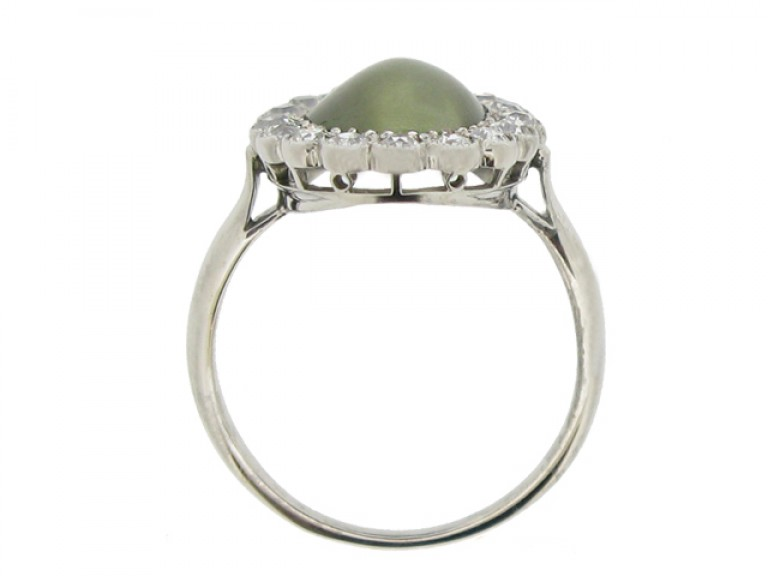 back view Cat's eye chrysoberyl and diamond coronet cluster ring, circa 1910.
