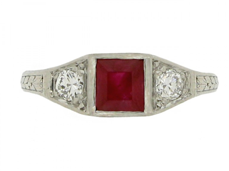 front view Art Deco ruby and diamond three stone ring, French, circa 1920.