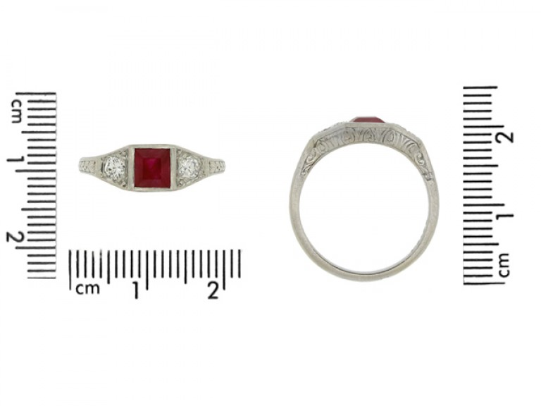 size view Art Deco ruby and diamond three stone ring, French, circa 1920.