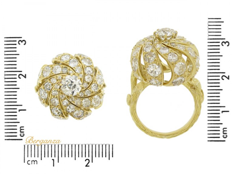 size view Sterle of Paris diamond cocktail ring, French, circa 1970.
