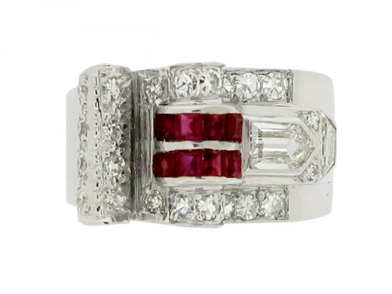 front view Art Deco ruby and diamond cocktail ring, circa 1935.