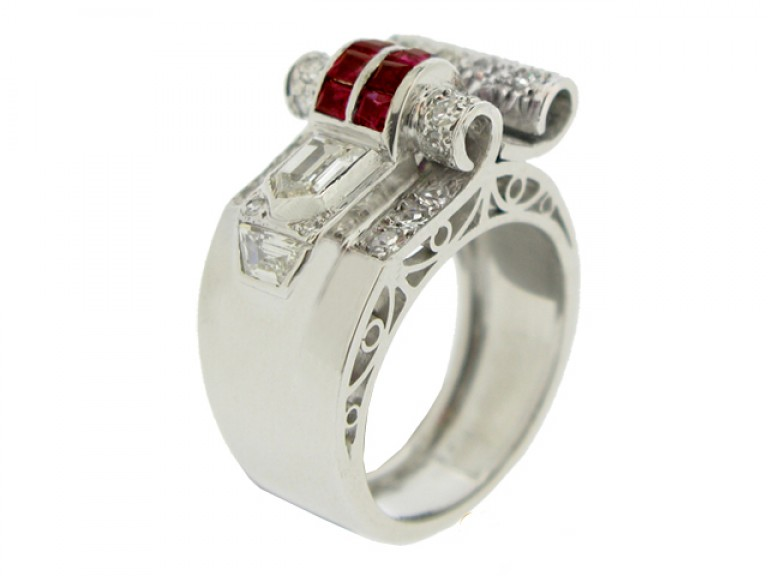 side view Art Deco ruby and diamond cocktail ring, circa 1935.