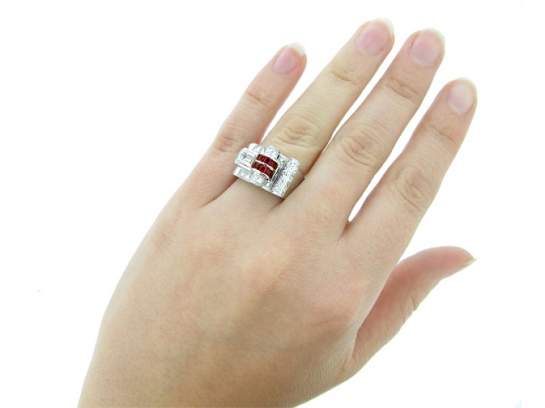 hand view Art Deco ruby and diamond cocktail ring, circa 1935.