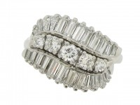 front view Vintage three row diamond ring, American, circa 1960.