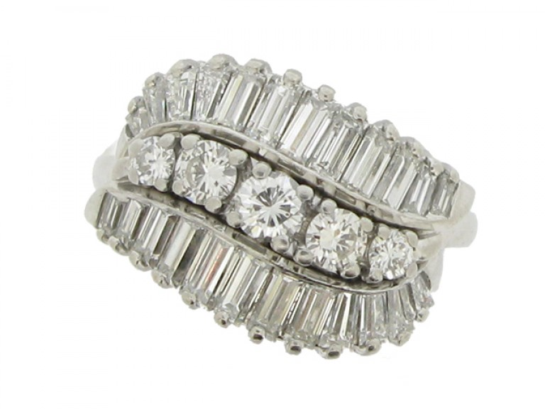 front view Vintage three row diamond ring, American, circa 1960.