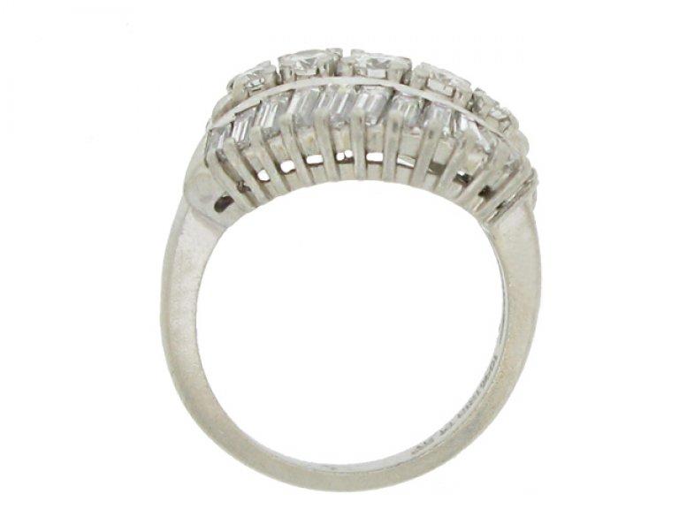 back view Vintage three row diamond ring, American, circa 1960.
