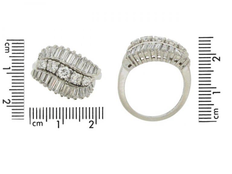 size view Vintage three row diamond ring, American, circa 1960.