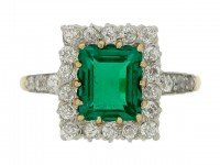 front view Antique emerald and diamond coronet cluster ring,
