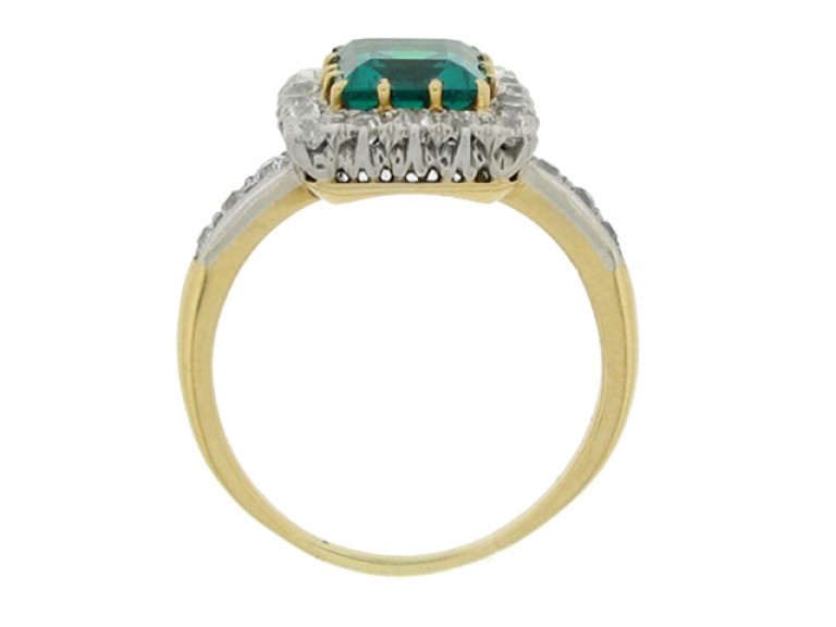 back view Antique emerald and diamond coronet cluster ring,