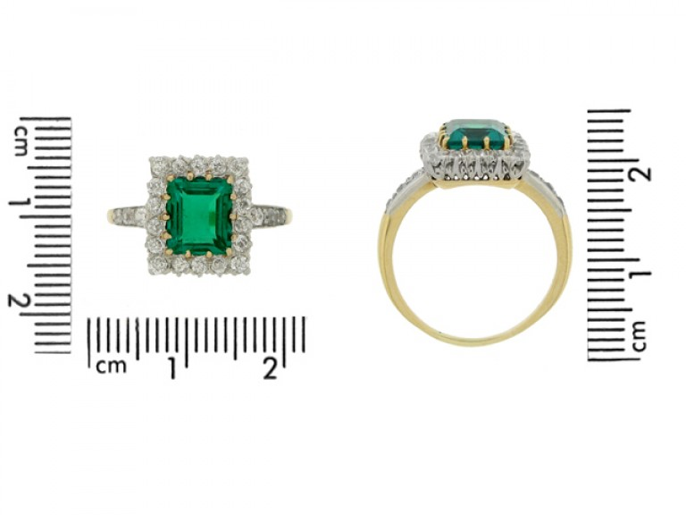 size view Antique emerald and diamond coronet cluster ring,