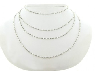 Pearl chain necklace in platinum, circa 1920s.