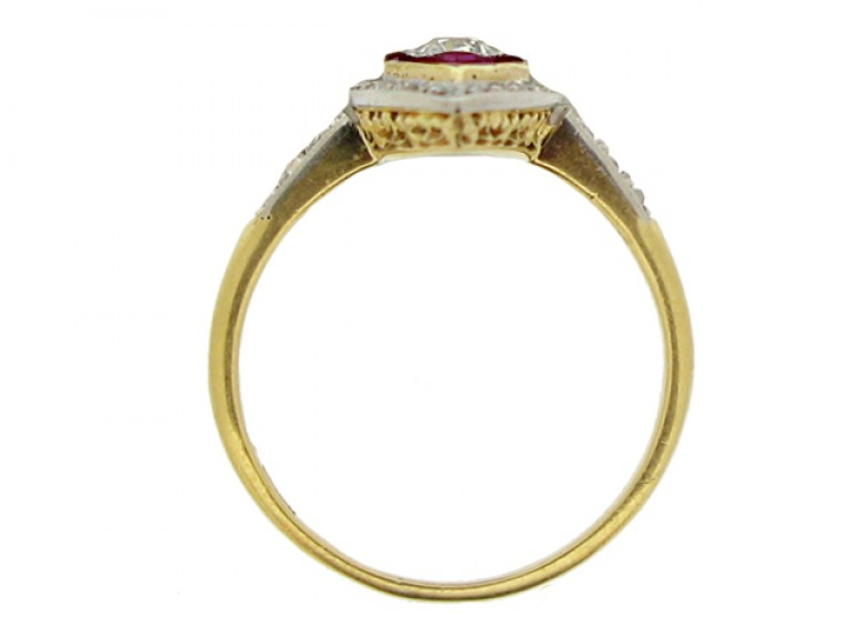 back view Antique ruby and diamond marquise shape cluster ring, circa 1905.