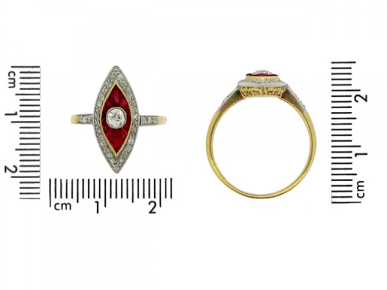 size view Antique ruby and diamond marquise shape cluster ring, circa 1905.