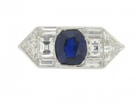 front view Yard Inc. Art Deco sapphire and diamond ring, American, circa 1925.