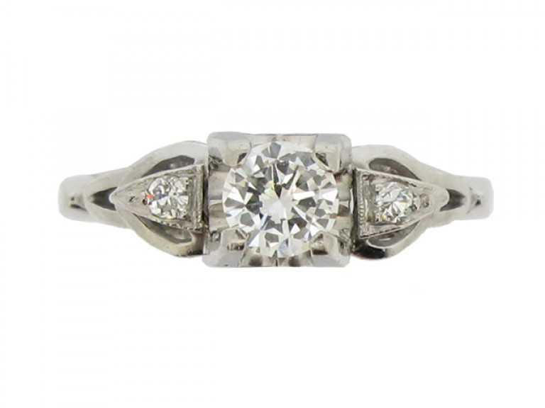 front view Solitaire diamond ring
