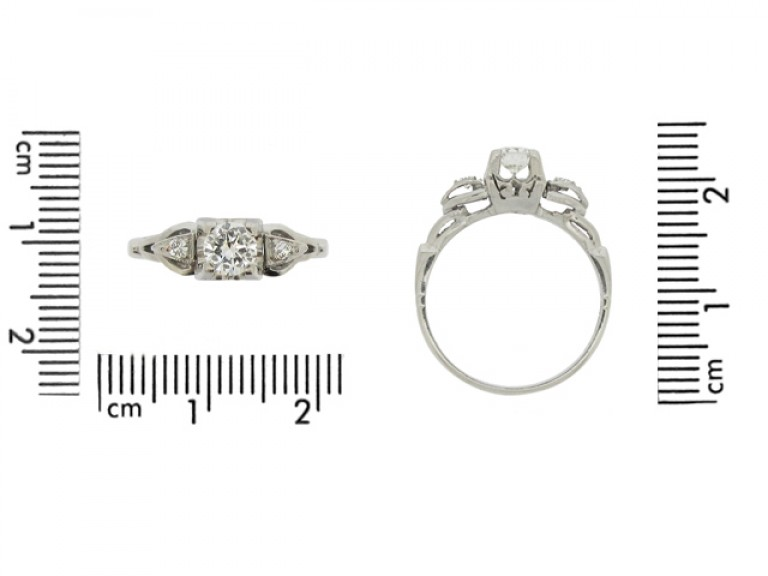 size view Solitaire diamond ring with diamond set shoulders, circa 1950.
