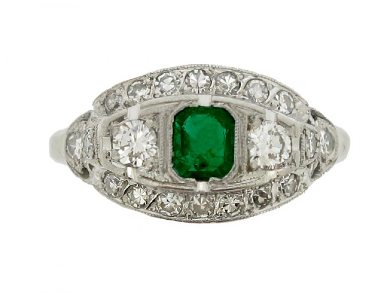 front view Emerald and diamond cluster ring, American, circa 1950.