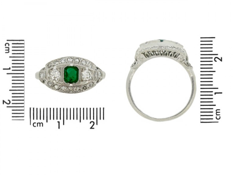 size view Emerald and diamond cluster ring, American, circa 1950.