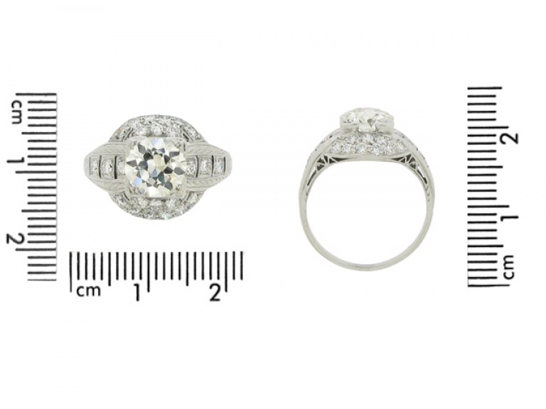 size view Old cut diamond cluster ring, circa 1920.