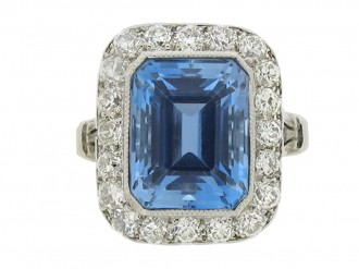 front view Tiffany & Co. aquamarine and diamond cluster ring, American,