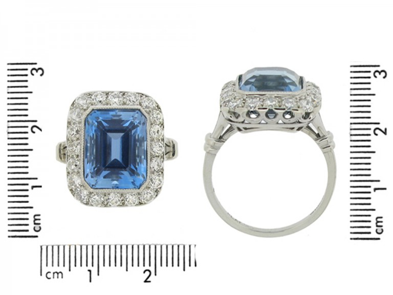 size view Tiffany & Co. aquamarine and diamond cluster ring, American,
