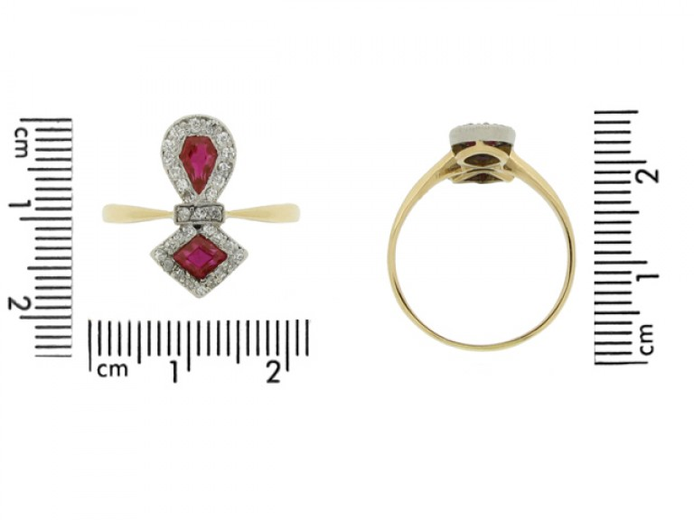 size view Edwardian ruby and diamond cluster ring, circa 1905.