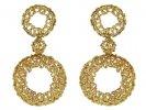 front view Vintage wreath earrings yellow gold berganza hatton garden