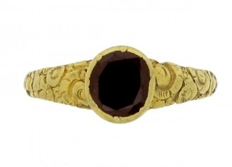 front view Early gold ring set wit