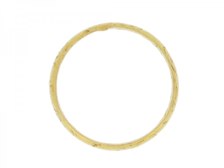 back view Gold posy ring, 'Content is a continuall tresure',