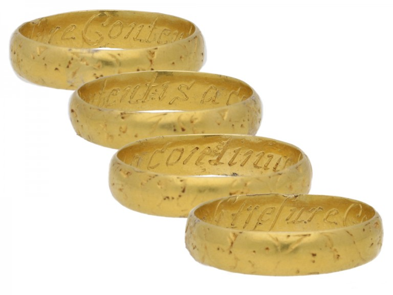 multi view Gold posy ring, 'Content is a continuall tresure',