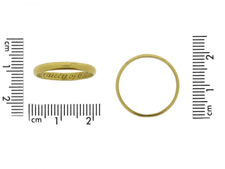 size view Gold posy ring, 'Variety is the Beauty of ye World'