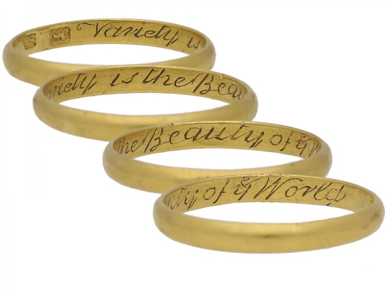 multi view Gold posy ring, 'Variety is the Beauty of ye World'