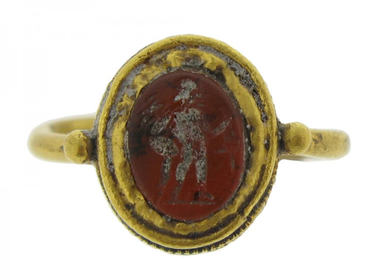 front view Roman gold intaglio ring with standing figure, 2nd   3rd century AD.
