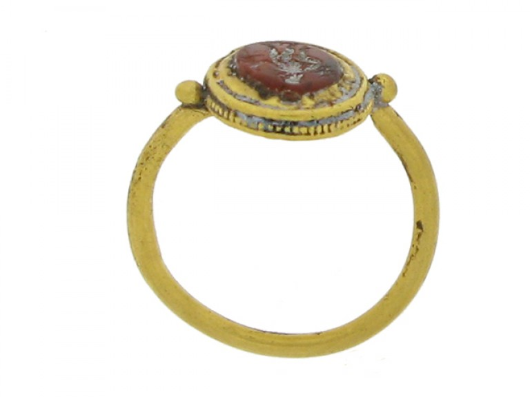 back view Roman gold intaglio ring with standing figure, 2nd   3rd century AD.