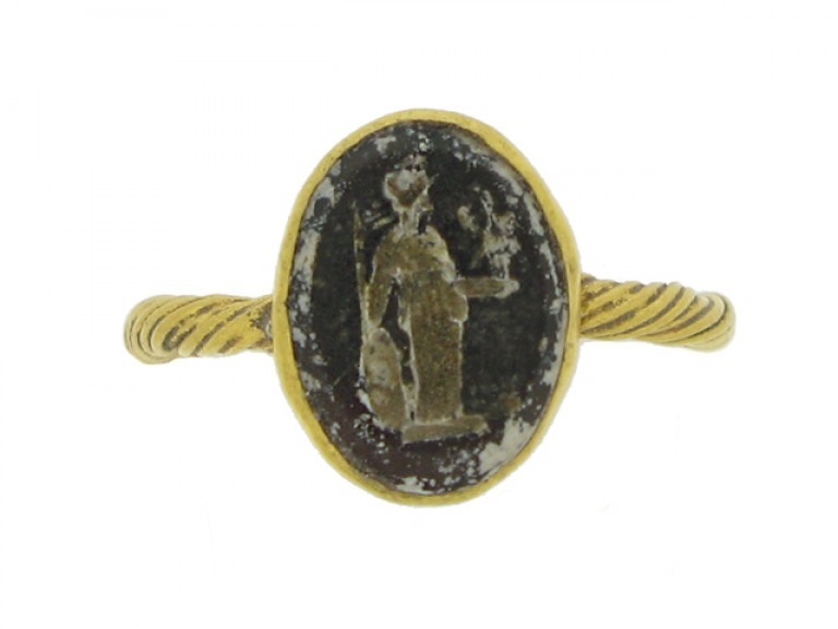 front view Roman gold ring with minerva intaglio, circa 2nd   3rd century AD.