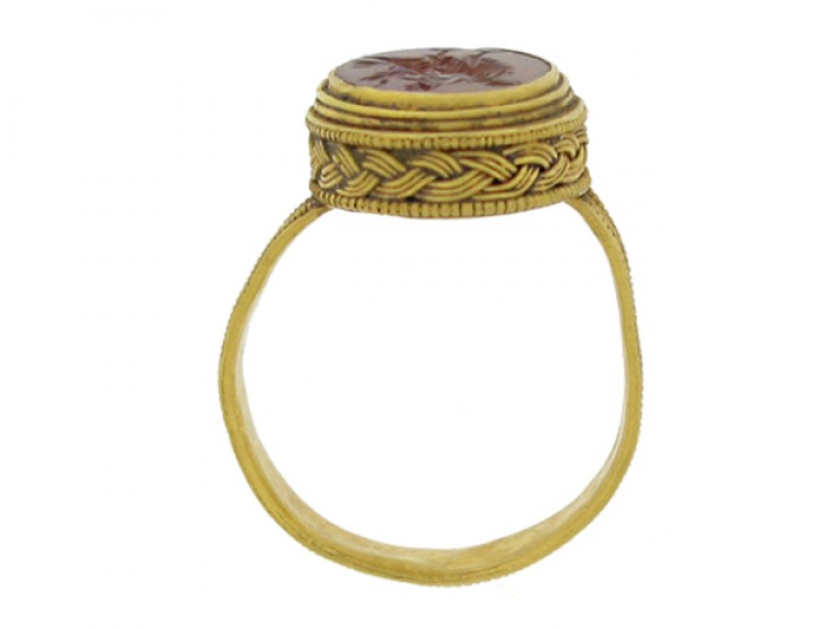 back view Roman gold finger ring with eagle intaglio, circa 3rd   4th century AD.