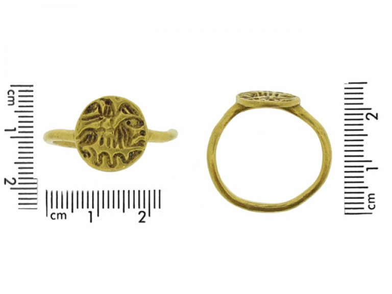 size view Medieval gold intaglio ring with eagle, lion and serpent