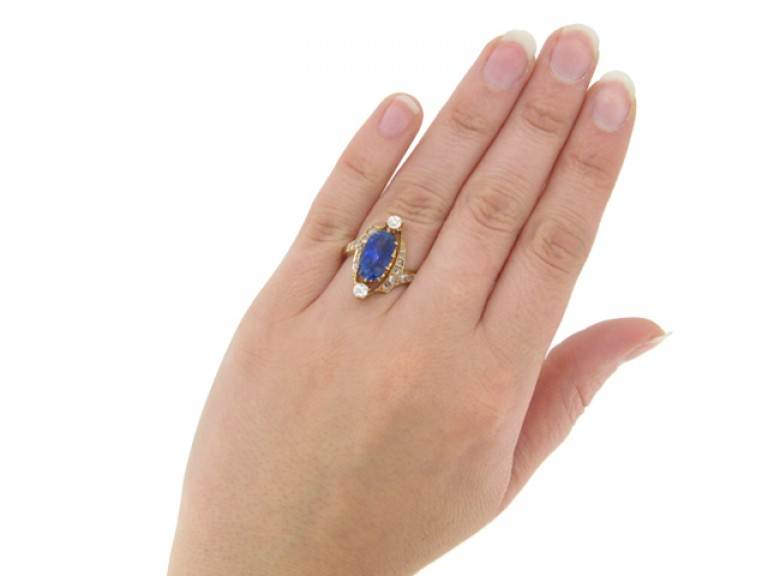 Antique sapphire and diamond cluster ring, circa 1900.